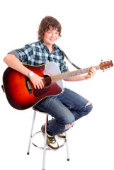 Young male with guitar