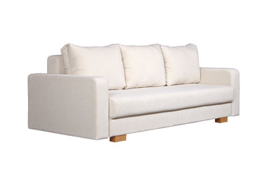 Sofa with white fabric upholstery (side view)