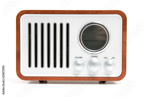 Old fashioned radio over white background