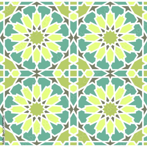 Islamic Star Pattern Blue Green