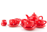 Red spotted crockery poster