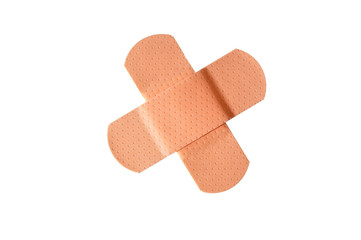 "Small adhesive bandages crossed in an ""X"", isolated"