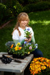 Teenager gardening