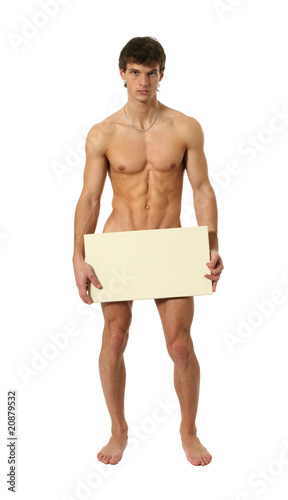 Nude Man Covering with a Copy Space Blank Banner