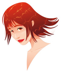 Female portrait. Vector illustration, object isolated.