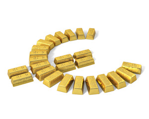 Euro symbol from gold bars, perspective.