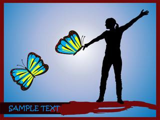 Junge Frau mit Schmetterlingen-Silhouette
