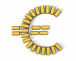 Euro symbol from gold bars, top