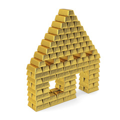 House from gold bars, perspective.