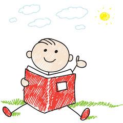 A boy reading