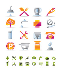 Realistic Petrol Station and Travel icons - Vector Icon Set