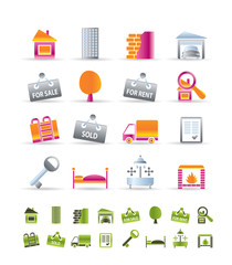 Realistic Real Estate icons - Vector Icon Set