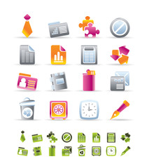 Realistic Business and Office Icons - vector icon set