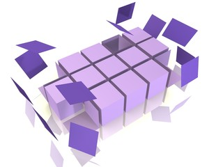A cube array is falling apart - 3d abstract image
