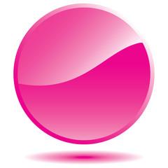 Pink glossy round sticker with shadow. Vector design element.