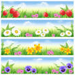 4 spring banners with daisies,narcissuses,tulips and violets