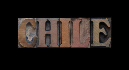 the word Chile in old letterpress wood type