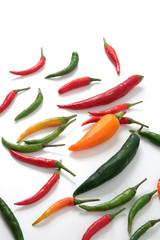variedad de guindillas chili peppers