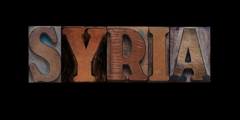 the word Syria in old letterpress wood type
