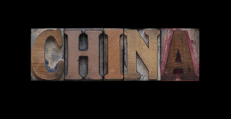 the word China in old letterpress wood type