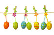 Easter eggs hanging on the clothesline