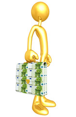Gold Guy With Money Briefcase