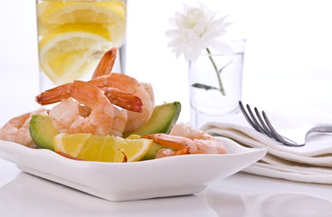 Prawn salad  with avocado lemon pepper and herbs