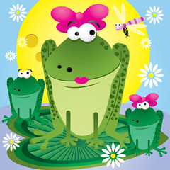 Vector family of fun cartoon frogs for greetings card