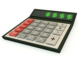 calculator with a dollar sign on the display