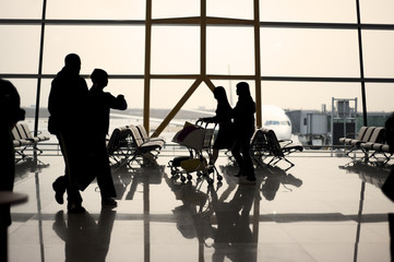 Dawn Airport Traveller silhouette