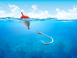 Float, fishing line and hook underwater vertical