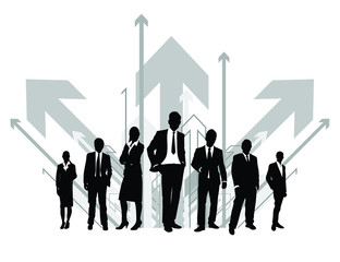 silhouettes of business people with an arrow background