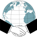 Global business trade nations agreement handshake icon