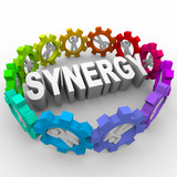 Synergy - People in Gears Around Word poster
