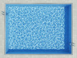 Blue water surface caustic pattern in outdoor pool
