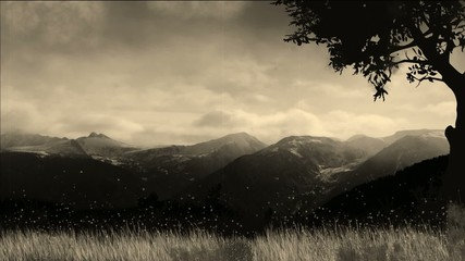 Video motion background mountains in autumn old movie