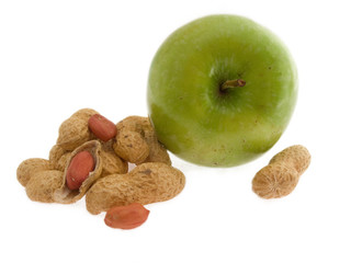 Peanuts and apple. Isolated on white