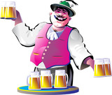 smiling bartender with beer glasses
