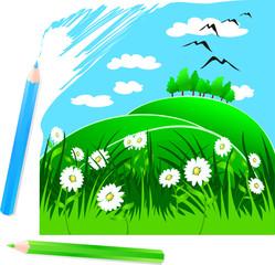 Paesaggio disegnato a matita