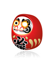 Japanese Daruma (Dharma) New Year wish toy isolated