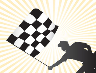 racing checkered flag on arrival