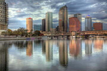 Beautiful blue sunrise sunset and reflections Tampa