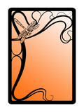art nouveau frame with dragonfly poster