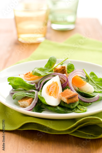 salad with spinach and egg