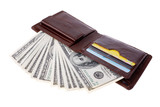 Brown leather wallet full of money. Isolated on white.