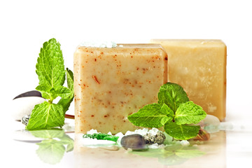 natural soap and mint