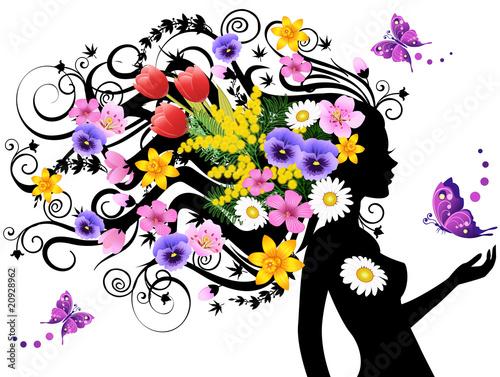Poster Bloemen vrouw Spring fairy
