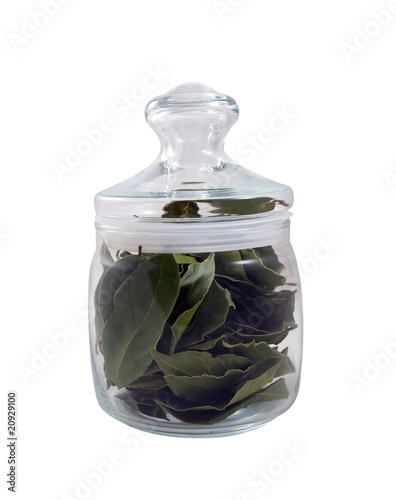 Bay leaves in a glass jar - 20929100