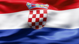 Creased Croatia flag in wind with seams and wrinkle poster