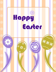 Easter greeting card with decorated eggs.